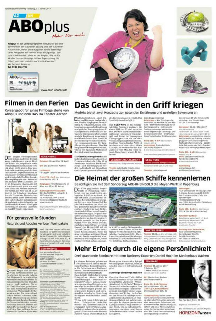 Aachener Medienhaus Zeitungsartikel Daniel Hoch
